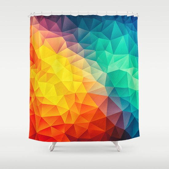 abstract multi color cubizm painting shower curtain by