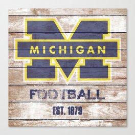 Michigan Football Ditressed Wood Canvas Print