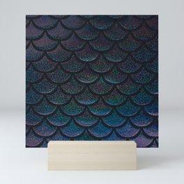 Midnight Blue Black Scales Mini Art Print
