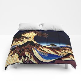 The GREAT Wave Midnight Blue Brown Comforters
