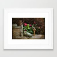 peonies Framed Art Prints featuring Peonies by  Robin-Lee