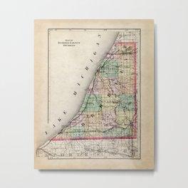 Berrien County Michigan Map Metal Print