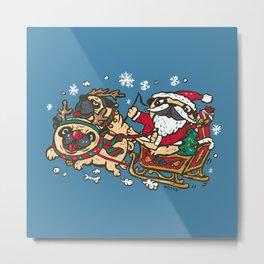 Santapug and Rudolph Metal Print