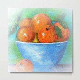 Peaches in a Blue Bowl Vignette Metal Print