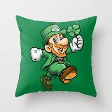 Lucky Mario Leprechaun Throw Pillow