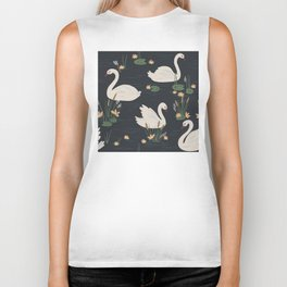White Swans In Navy Blue Lily Pad Pond Biker Tank