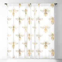 Gold Bee Pattern Blackout Curtain