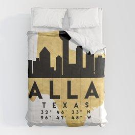 DALLAS TEXAS SILHOUETTE SKYLINE MAP ART Comforters