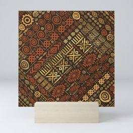 Ethnic African Pattern- browns and golds #5 Mini Art Print