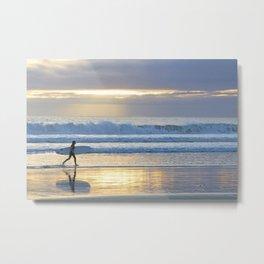Surfing at sunset Metal Print