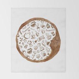 Inside an imprint of Coffee - I love Coffee Throw Blanket