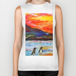 Beautiful Penguins With Sea Lion By The Blue Ocean Painting Biker Tank