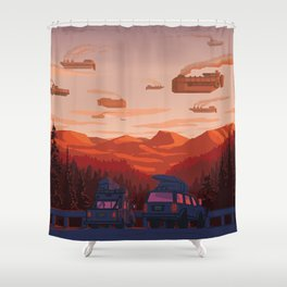 Freight Runners in the Distance Shower Curtain