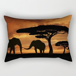 African elephants silhouettes in sunset Rectangular Pillow