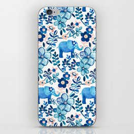 Blush Pink, White and Blue Elephant and Floral Watercolor Pattern iPhone Skin