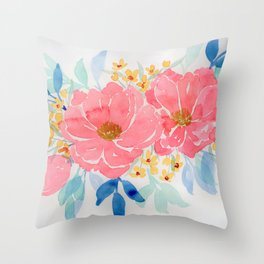 Pink loose floral watercolor painting Throw Pillow