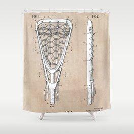 patent art Tucker Lacrosse stick 1967 Shower Curtain