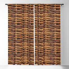 Woven wood -willow basket - wicker baskets twig texture Blackout Curtain