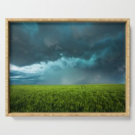 April Showers - Colorful Stormy Sky Over Lush Field in Kansas Serving Tray