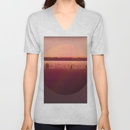 Vintage Coral Sunset, Winter Beach Unisex V-Neck