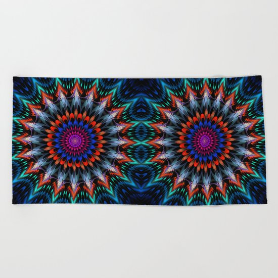 Full Bloom, multi-color design Beach Towel