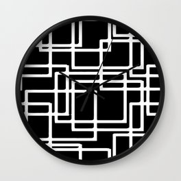 Interlocking White Squares Artistic Design Wall Clock