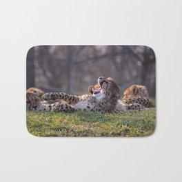 baby cheetah yawning Bath Mat
