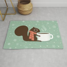 Cute Squirrel Coffee Lover Winter Holiday Rug
