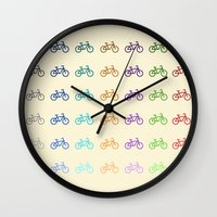 bicycles Wall Clocks featuring Bicycles by George Hatzis