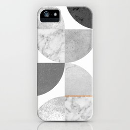 Marble Gray Copper Black and white circles iPhone Case