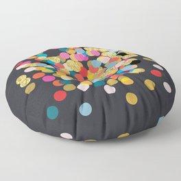 Gold & Colorful Confetti Floor Pillow