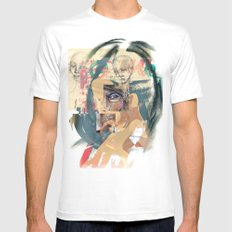 Abstract White MEDIUM Mens Fitted Tee