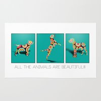 dogs Area & Throw Rugs featuring Dogs by mark ashkenazi