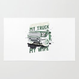 My Truck My Wife Dirt Track Racing Racer Auto Racing Race Cars Gifts Rug