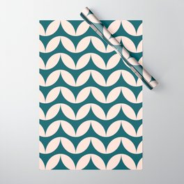 Geometric Leaf Shapes in Teal and Blush Wrapping Paper
