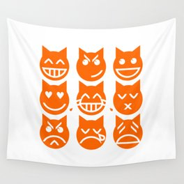 The 9 Lives of the Emoji Cat Wall Tapestry