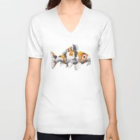 study V-neck T-shirts featuring Koi Study by Ken Coleman