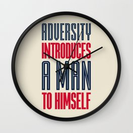 Lab No. 4 Adversity introduces a man to himself albert einstein motivational quote poster Wall Clock