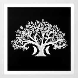 The Zen Tree - White on Black Art Print