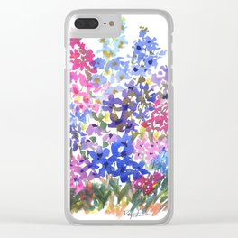 Blue Delphinium Garden Clear iPhone Case