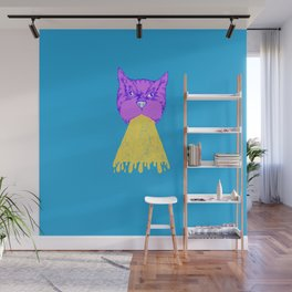 Cat Vomit - Purple Poot + Blue Background Wall Mural