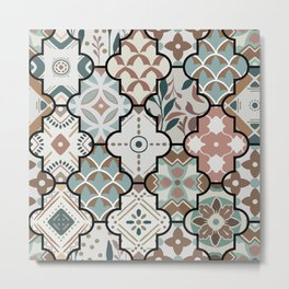 Colorful floral seamless ornate pattern in brown color Metal Print