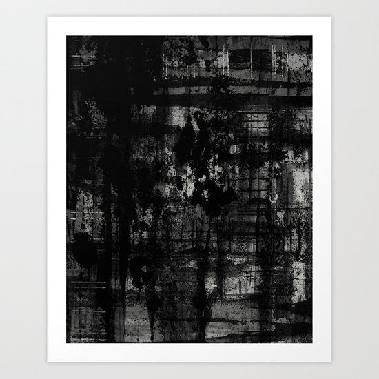 Into the Night - Black & White, textured abstract Art Print