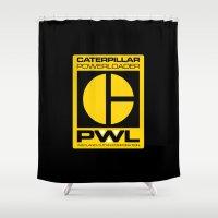 ripley Shower Curtains featuring Weyland/Cat PowerLoader by IIIIHiveIIII