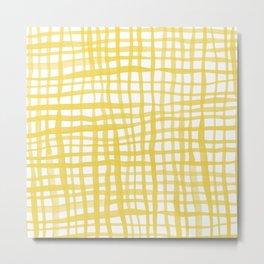 Watercolor doodle gingham - yellow Metal Print