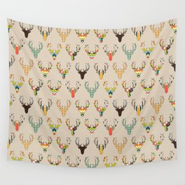 retro deer head on linen Wall Tapestry