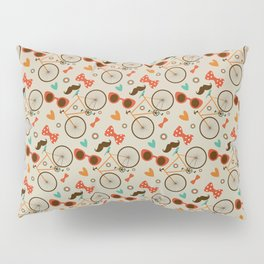 Colorful Hipster Elements Pattern on beige Pillow Sham