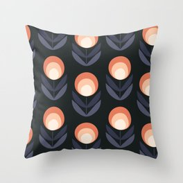 Mod Rose Pattern Throw Pillow
