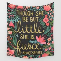 text Wall Tapestries featuring Little & Fierce on Charcoal by Cat Coquillette