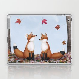 foxes, falling leaves, & pileated woodpecker Laptop & iPad Skin